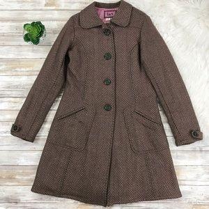 Anthropologie LUX Chevron Wool Blend Coat Jacket